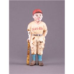 "1900's ""Slugger"" cast iron Baseball Bank. This colorful"