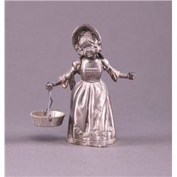 Girl with basket metal figurine (Size: See last photo