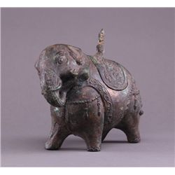 19th Century Chinese bronze figural censer of a