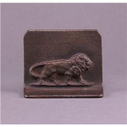 19th Century bronze single book end of a lion. (Size:
