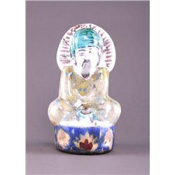 18th/19th Century Iranian glazed ceramic idol. (Size: