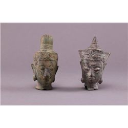 Southeast Asian artifacts of Buddha heads.  Circa 18th