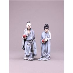 "Two (2) Asian porcelain figures signed ""Fran"". (Size:"