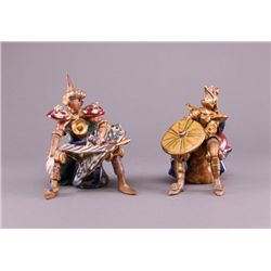 Two (2) Italian hand painted porcelain Knights, signed