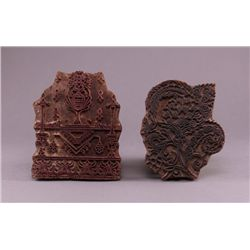 Two (2) India, circa 18th Century wood stamp blocks