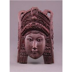Early 1900's Oriental carved wood mask of an Empress