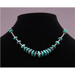 Native American green turquoise necklace. (Size: See