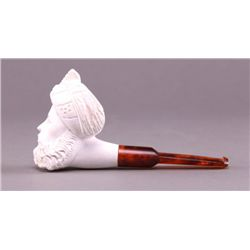 Meerschaum pipe with amber stem. (Size: See last photo