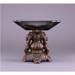 Art Deco ashtray with cherubs and smokey glass. (Size: