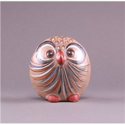 Mid 1900;s hand painted pottery owl with detailed scene