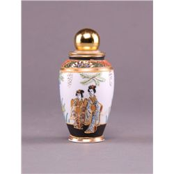 Porcelain perfume bottle with hand painted Asian