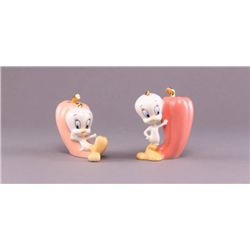 Two (2) Lenox Looney Tunes Tweety Bird porcelain salt &