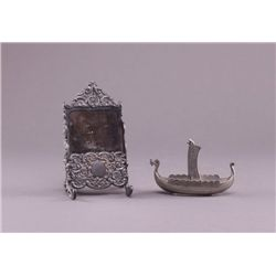 Silver plated card holder and boat. (Size: See last