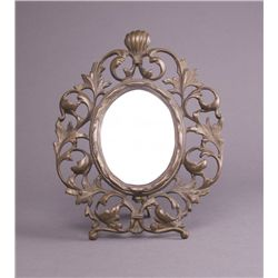 Antique mirror with folding back leg. (Size: See last