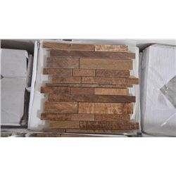 19 BOXES APPROX 95 PIECES 12X12 imperial woodsgrain mini planking backsplash RETAIL 2180.00 AT 22.95
