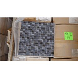 12 BOXES APPROX 60 PCS 12X12 BLACK LIMESTONE HONED DIMENSIONAL MOSAIC RETAIL 1077.00 AT 17.95 PER SQ