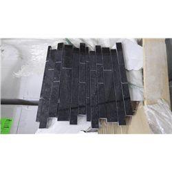 11 BOXES 110 PCS 12X12 BLACK GALAXY GRANITE MINI PLANKING MOSAIC RETAIL 2634.00 AT 23.95 PER SQ FT