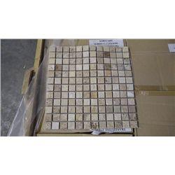 "15 BOXES APPOX 150 PCS 12X12 TRAVERTINE POLISHED 1"" MOSAIC RETAIL 2842.00 AT 18.95 PER SQ FT"