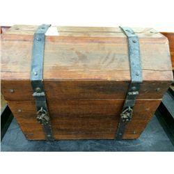 Handmade Wooden Trunk Full of Material