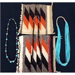 Necklace & Vintage Textile Lot