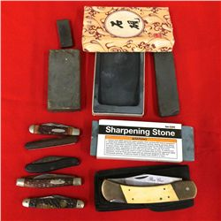 Knife & Sharpening Stone Lot