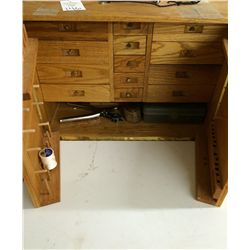 Large Wood Sewing Box with Supplies