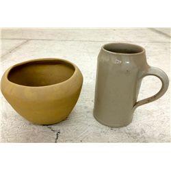 Antique Crock Mug & Handmade Pottery Bowl