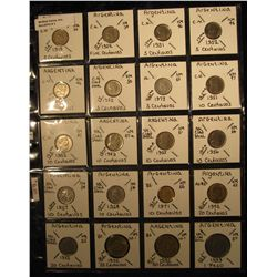 1. Plastic Coin Page containing (20) Argentina Coins from Five Centavos to One Peso and dating back