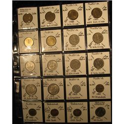 3. Plastic Coin Page containing ((17) Different Austria & (3) Different Bahamas coins with a KM valu
