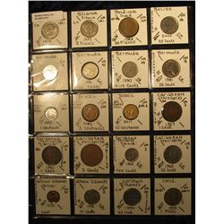 5. Plastic Coin Page containing (20) Coins from Belgium, Belize, Bermuda, Brazil, Caribbean Territor