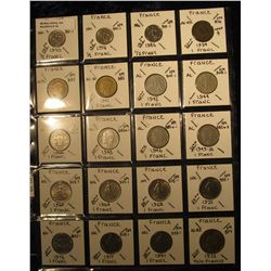 10. Plastic Coin Page containing (20) Coins from France from 1/2 Franc to Two Francs. Dates back to
