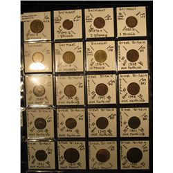 12. Plastic Coin Page containing (20) Coins from France, Germany, & Great Britain. KM value $15.80.