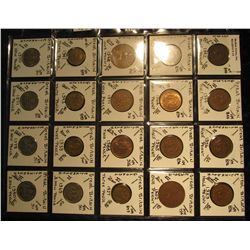 13. Plastic Coin Page containing (20) Coins from Great Britain. Includes Half Pennies, Pennies, Thre