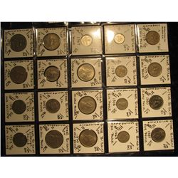 14. Plastic Coin Page containing (20) Coins from Great Britain. Includes 5 New Pence, Six Pence, 10