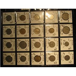16. Plastic Coin Page containing (20) Coins from Great Britain & Greece. KM value $12.50.