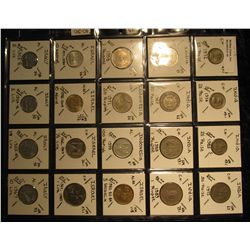 19. Plastic Coin Page containing (20) Coins from India, Indonesia, Israel, & Italy. KM value $10.90.