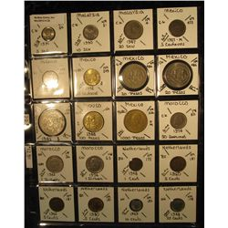 22. Plastic Coin Page containing (20) Coins from Malaysia, Mexico, Morocco, & Netherlands. KM value