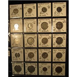 23. Plastic Coin Page containing (20) Coins from Netherlands, Netherlands Antilles, New Zealand, & N
