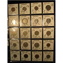 24. Plastic Coin Page containing (20) Coins from Norway, Pakistan, Panama, & Papua New Guniea. KM va