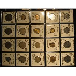 25. Plastic Coin Page containing (20) Coins from Paraguay, Peru, & Philippines. KM value $9.75.