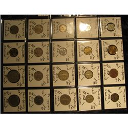 26. Plastic Coin Page containing (20) Coins from the Philippines Islands. One Sentimo to 50 Sentimo.