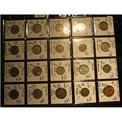 28. Plastic Coin Page containing (20) Coins from Russia, Saudi Arabia, Sierra Leone, Singapore, Sout
