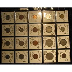 30. Plastic Coin Page containing (20) Coins from Switzerland, Taiwan, Thailand, Trinidad & Tobago, &