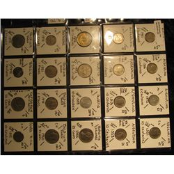 32. Plastic Coin Page containing (20) Coins from Argentina, Austria, Bahamas, Barbados, Belgium, Bra