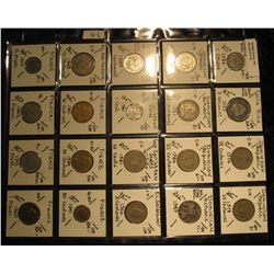 33. Plastic Coin Page containing (20) Coins from Costa Rica, Domincan Republic, East Caribbean State