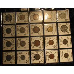 34. Plastic Coin Page containing (20) Coins from France & Great Britain. KM $13.15.