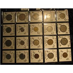 35. Plastic Coin Page containing (20) Coins from Great Britain, Greece, Guatemala, Haiti, Honduras,