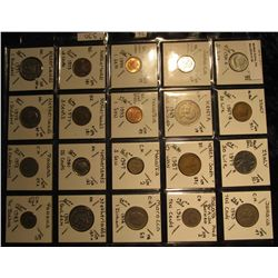 36. Plastic Coin Page containing (20) Coins from Italy, Jamaica, Kenya, South Korea, Malaya & Britis