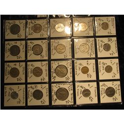 38. Plastic Coin Page containing (20) Coins from Argentina, Barbados, Dutch Belgium, Caribbean Terri