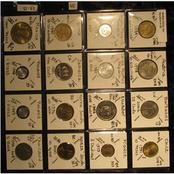 39. Plastic Coin Page containing (16) BU Coins from (12) Different Countries. KM $23.15.